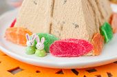pic of curd  - Easter Bunnies on the Plate with Curd Paskha Traditional Russian Easter Dessert copy space for your text - JPG