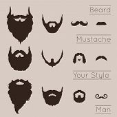 stock photo of mustache  - Beards and Mustaches set with flat design - JPG