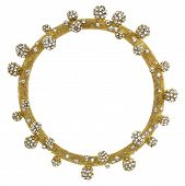 picture of white gold  - Round Gold Picture Frame with Rhinestone Balls isolated on white - JPG