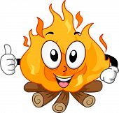 picture of bonfire  - Mascot Illustration of a Bonfire Giving a Thumbs Up - JPG