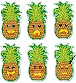 foto of crazy face  - set of crazy and funny pineapple faces - JPG