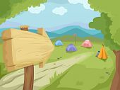 stock photo of tent  - Illustration of a Wooden Sign Pointing to a Camp Filled With Camping Tents - JPG