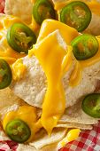 foto of nachos  - Homemade Nachos with Cheddar Cheese and Jalapenos - JPG