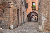 stock photo of ferrara  - the picturesque alley Via delle Volte - JPG