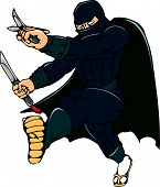 image of ninja  - Cartoon style illustration of a masked ninja warrior superhero holding sword and knife kicking viewed from front on isolated white background - JPG