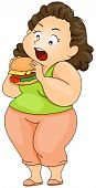 picture of fat woman  - Plump woman eating Burger with Clipping Path - JPG