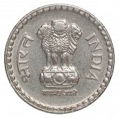 stock photo of indian currency  - Indian rupees with the image of the statue of three lions - JPG