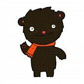 stock photo of cute bears  - retro comic book style cartoon cute black bear - JPG