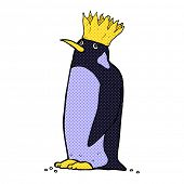 picture of emperor  - retro comic book style cartoon emperor penguin - JPG
