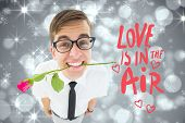 stock photo of shimmer  - Romantic geeky hipster against shimmering light design on grey - JPG