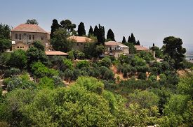 stock photo of cornerstone  - View of Rosh Pinna town located in the Upper Galilee on the Northern District of Israel - JPG