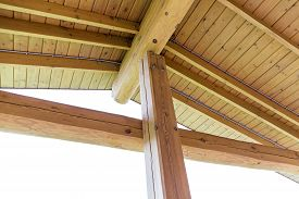image of rafters  - Interior view of a wooden roof structure rafters and trusses  - JPG