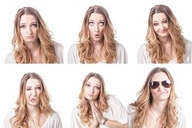 picture of emoticon  - Collage of woman different facial expressions emotions and emoticons - JPG