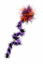 image of pom poms  - Swirl Halloween Purple Pen with Pom Pom feather and eyelash fabric isolated on white background - JPG