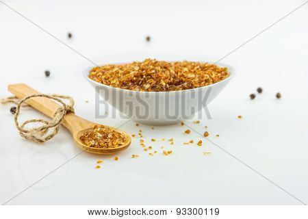 Granulated Sugar On White Background.