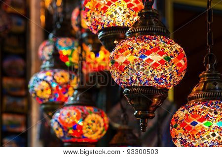 Colorful vintage oriental glass turkish lamps