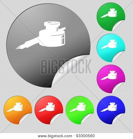 Pen And Ink Icon Sign. Set Of Eight Multi Colored Round Buttons, Stickers. Vector