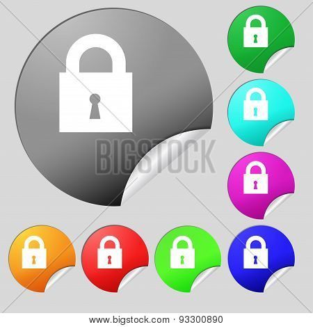 Closed Lock Icon Sign. Set Of Eight Multi Colored Round Buttons, Stickers. Vector