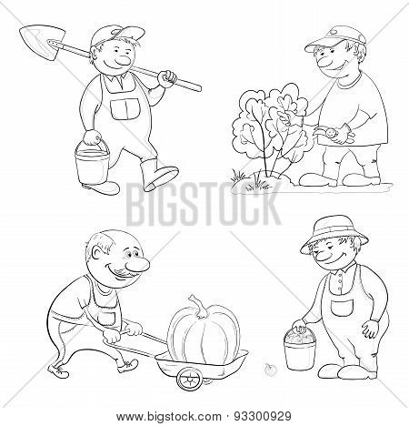 Cartoon: gardeners work, outline