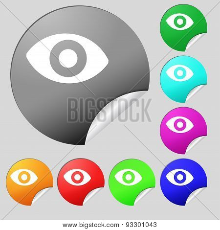 Sixth Sense, The Eye Icon Sign. Set Of Eight Multi Colored Round Buttons, Stickers. Vector