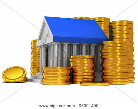 Bank Building With Gold Coins