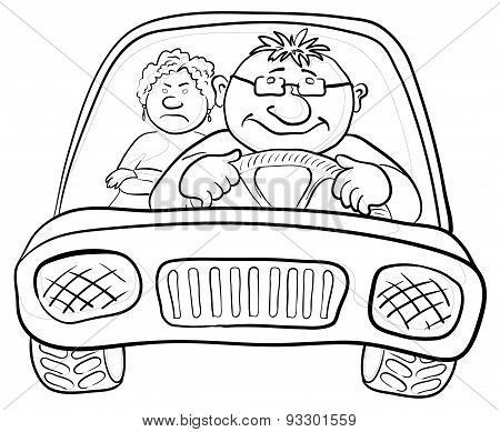 Car, driver and passenger, contours