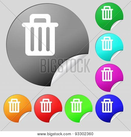 Recycle Bin Icon Sign. Set Of Eight Multi Colored Round Buttons, Stickers. Vector