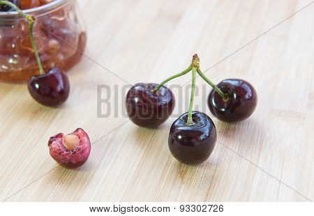Fresh Delicious Dark Red Cherry Fruits.