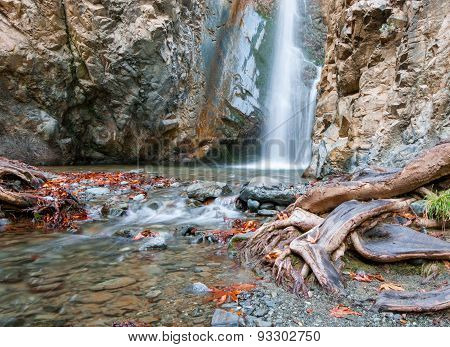 Waterfall At A Rocky Mountain Slobe At  Troodos Cyprus.