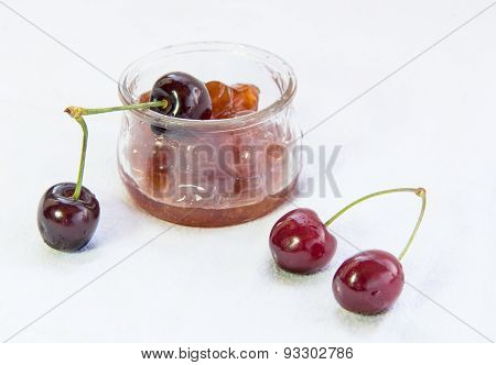 Fresh Delicious Dark Red Cherries