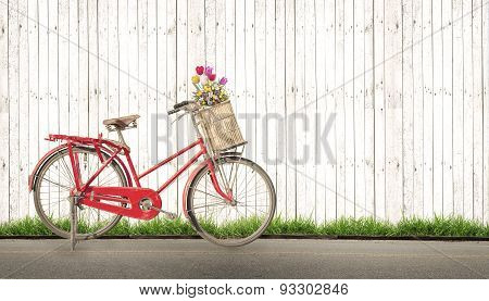 bicycle vintage with bouquet flower