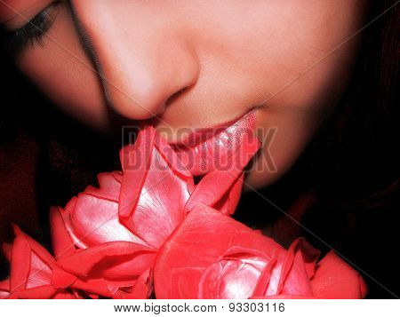 girl with rose in red tone