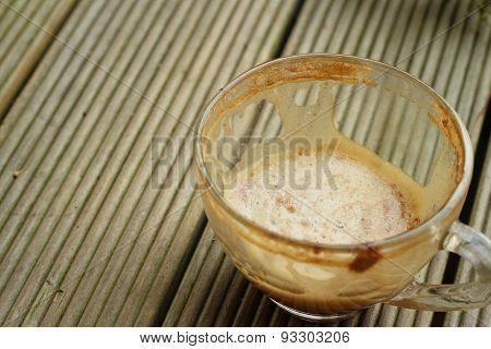 Coffee Mug On A Wood Background At Coffee Shop.