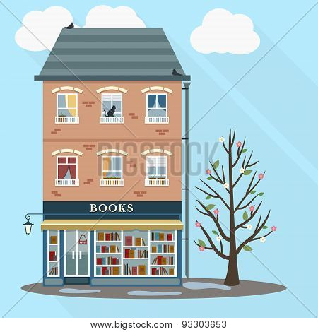 Retro house with books shop