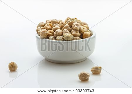 The Kaburi Beans (large White Chick Peas) On White Background For Decorae Project.