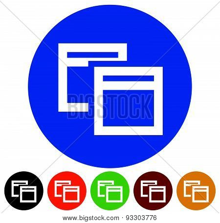 Icons With Software (application) Window Symbols. Minimize, Maximize Or Cascade Icons