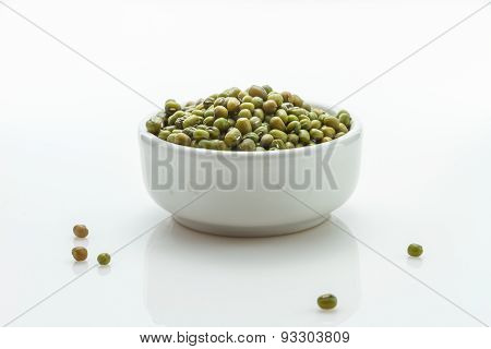 The Green Beans (moong Whole) On White Background For Decorae Project.
