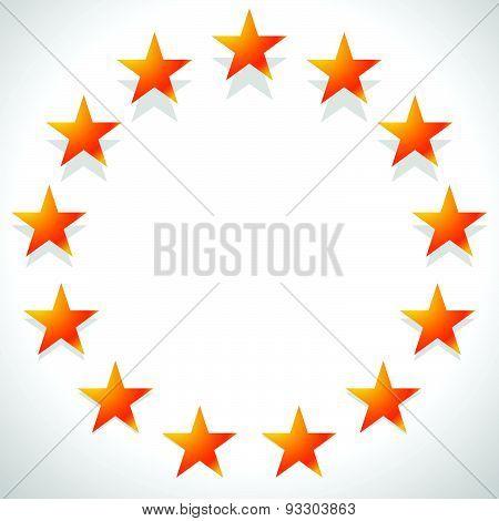 Yellow, Orange Star In Circle. Editable Vector.