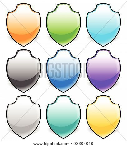 Vector Shield Shapes. Editable Illustration. Eps 10.