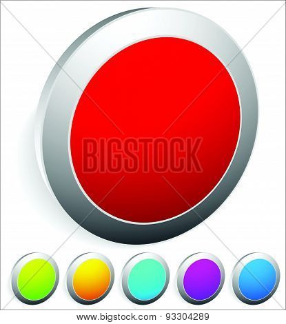 3D Buttons, Pins, Badges With Empty Space, Red, Green, Orange, Aqua, Purple And Blue Colors.