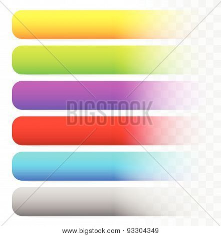 Horizontal Blank Button, Banner Backgrounds. Set Of More Colors. Web, Print Design Elements. Vector.