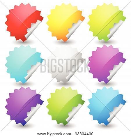 Starburst Shape Sticker Set In 9 Colors. Empty, Blank Vector Sticker Set.
