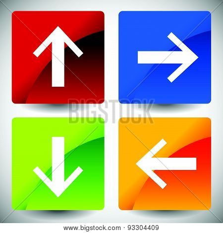 Arrow Icons In 4 Directions. Up, Down, Left, Right Arrows.