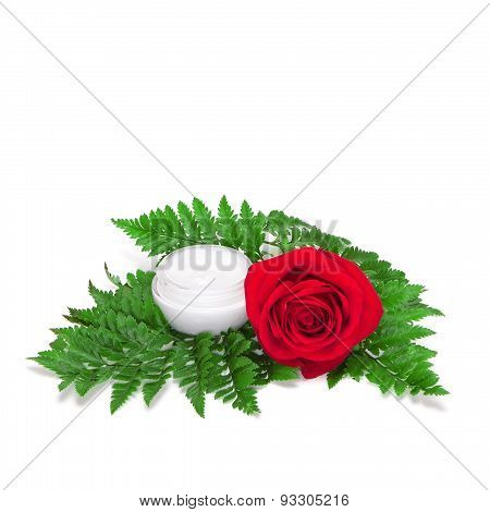Glass Jar Of Cream On Fern Leaves With Red Rose