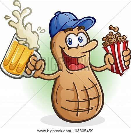 Peanut Cartoon Character with Beer