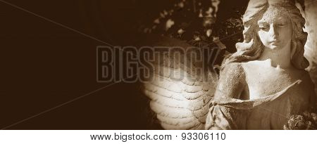 Sculpture Of A Beautiful Angel On  Dark Background (styled Retro)