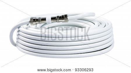 Bunch Of White Tv Cables With Connectors Isolated On White Background