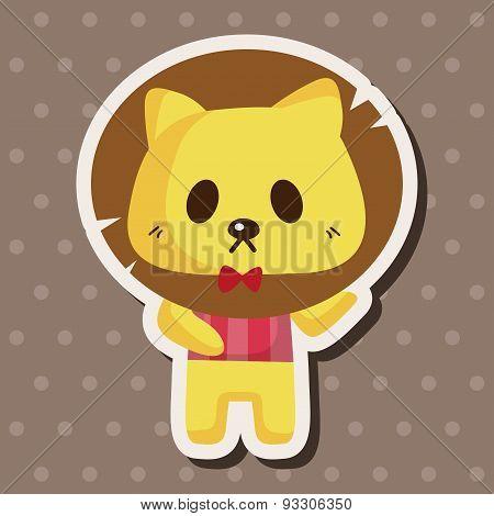 Animal Lion Waiter Cartoon Theme Elements