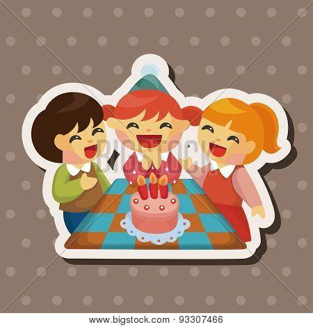 People Celebrate The Birthday Theme Elements
