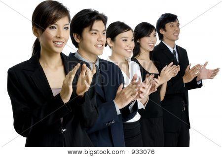 Negocios equipo aplausos